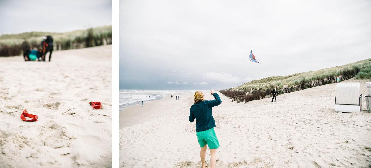 Brautpaar beim Drachenfliegen  am  Strand auf Wangerooge