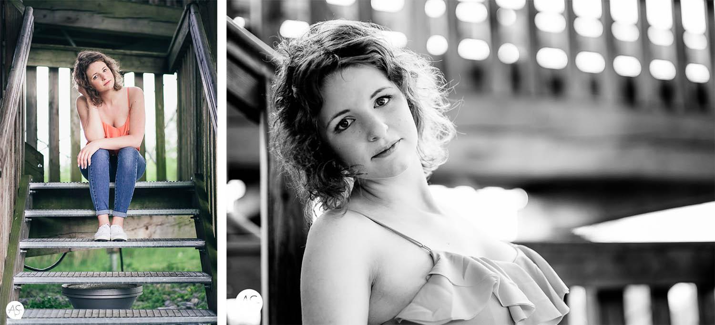 Portrait von Eileen auf einer Treppe